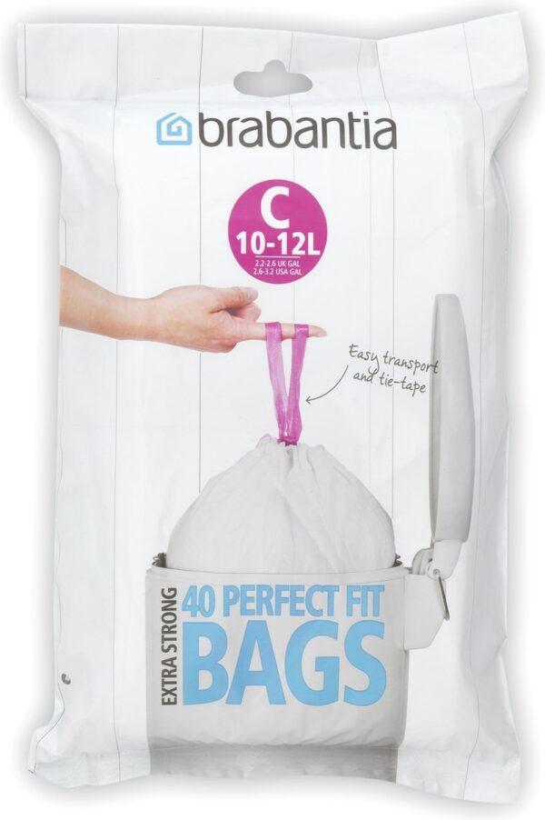 Brabantia PerfectFit Afvalzak met Trekbandsluiting - 10/12 l - Code C - 40 stuks