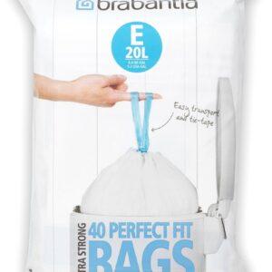 Brabantia PerfectFit Afvalzak met Trekbandsluiting - 20 l - Code E - 40 stuks