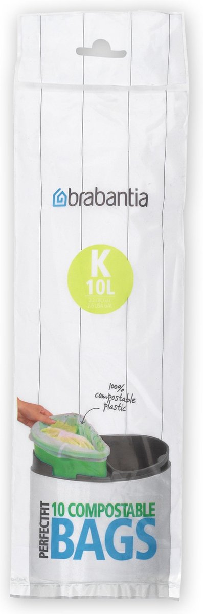 Brabantia PerfectFit Composteerbare Afvalzak - 10 l - Code K - 10 stuks