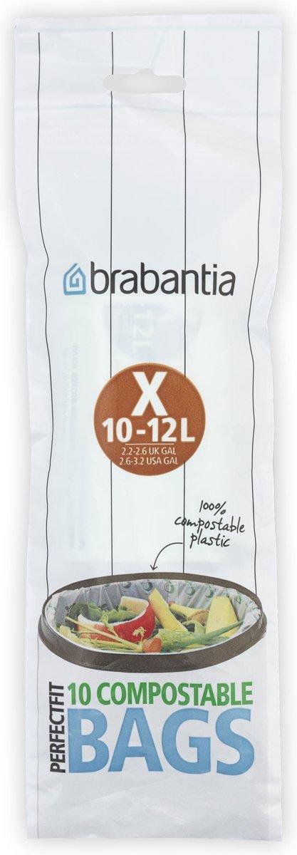 Brabantia PerfectFit Composteerbare Vuilniszakken - 10/12 l - Code X - 10 stuks
