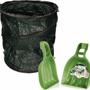 Groene tuinafvalzak opvouwbaar 115 liter met een setje bladharken/tuinafval grijpers - Tuinieren opharken