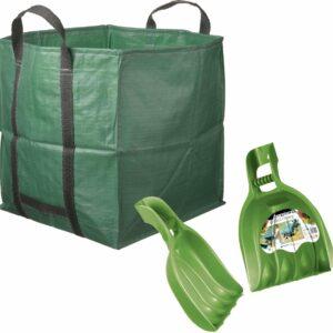Groene tuinafvalzak opvouwbaar 148 liter met een setje bladharken/tuinafval grijpers - Tuinieren opharken