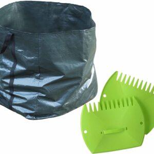 Groene tuinafvalzak opvouwbaar 227 liter met een setje bladharken/tuinafval grijpers - Tuinieren opharken