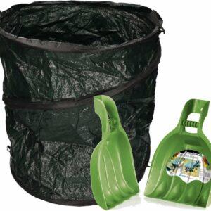 Groene tuinafvalzak opvouwbaar 90 liter met een setje bladharken/tuinafval grijpers - Tuinieren opharken