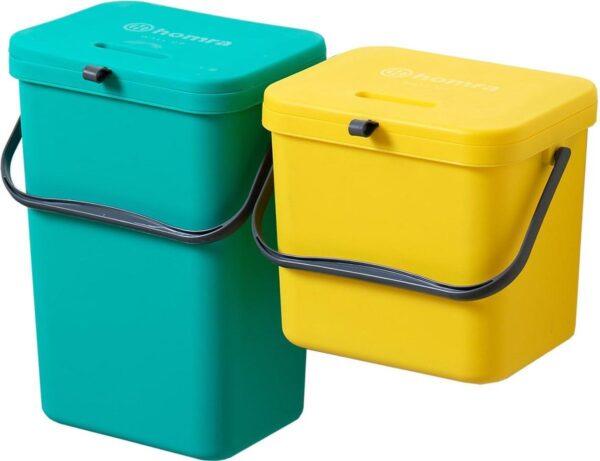 Homra Wall-up prullenbak - Inbouwprullenbak set 8L & 12L inhoud - Geel & Groen