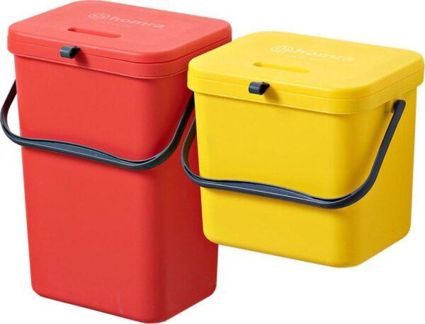 Homra Wall-up prullenbak - Inbouwprullenbak set 8L & 12L inhoud - Geel & Rood