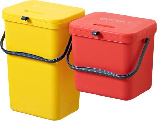 Homra Wall-up prullenbak - Inbouwprullenbak set 8L & 12L inhoud - Rood & Geel
