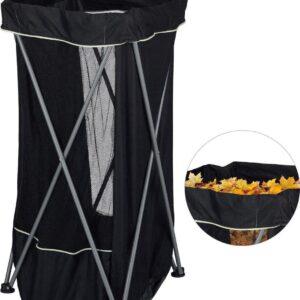 Invouwbare afvalbak camping - multifunctionele outdoor vuilnisbak met polyester afvalzak - tuinafvalzak 130 liter op metalen standaard