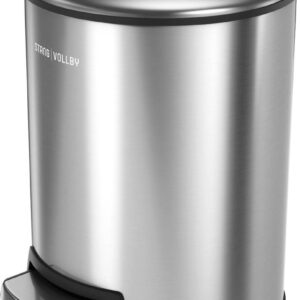 StangVollby Docksta Pedaalemmer - 12 Liter - RVS - Prullenbak - Toilet - Badkamer - Kantoor - Klein - Soft Close Deksel - Chique Design - RVS Pedaal Prullenbak - Afvalzak Inkeping