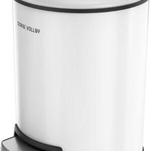 StangVollby Docksta Pedaalemmer - 12 Liter - RVS - Wit - Prullenbak - Toilet - Badkamer - Kantoor - Klein - Soft Close Deksel - Chique Design - Witte Pedaal Prullenbak - Afvalzak Inkeping