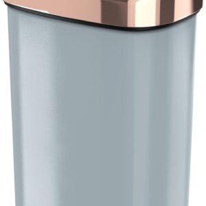 Stangvollby Nausta Sensor Prullenbak - 58 Liter - Grijs met Roségouden deksel - RVS - Soft close - Vingerafdrukvrij - Grijze afvalbak met koperen rand - Hygiënische automatische deksel - Keuken Afvalemmer - Kantoor Vuilbak 60 liter - Elektrisch