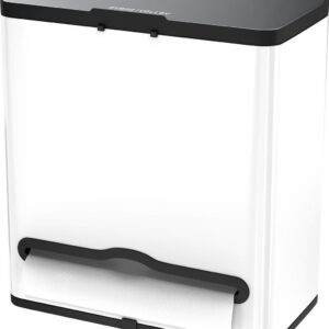 Stangvollby Vallvik Prullenbak - 4 Liter - Keukenrol Dispenser - Wit - RVS - Ophangbare Vuilbak - Afvalscheiding - Uitneembare Binnenemmer - Inbouw Vuilnisbak - Keuken Afvalemmer - Ruimtebesparend - Staand - Ophangen - Keukenrol Houder - GFT bakje
