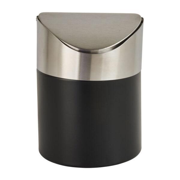 Tafel afvalbakje - zwart/rvs - 11.5x17 cm - Xenos