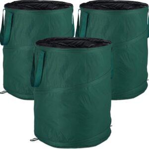 relaxdays tuinafvalzak pop-up - tuin afvalzak - set van 3 - 160 l - groenafvalzakken