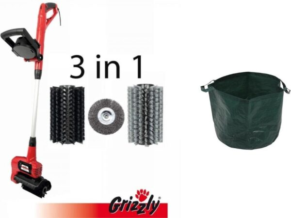 Grizzly Elektrische voegenborstel met tuinafvalzak 65L - ERB550 3-in-1 - 550W