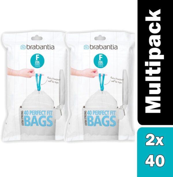 Pack of x 2 Brabantia PerfectFit Bags, Code F, 20L, slimline, 40 Bags per Dispenser Pack, - White