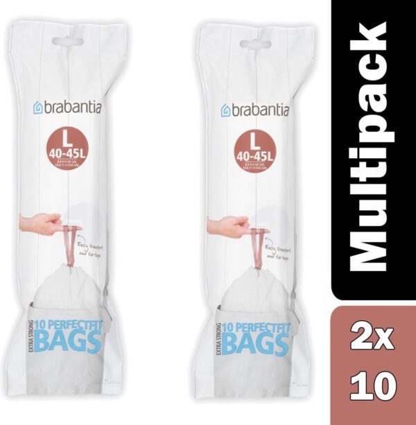 Pack of x 2 Brabantia PerfectFit Bags, Code L, 45 litre, 10 Bags per Roll - White