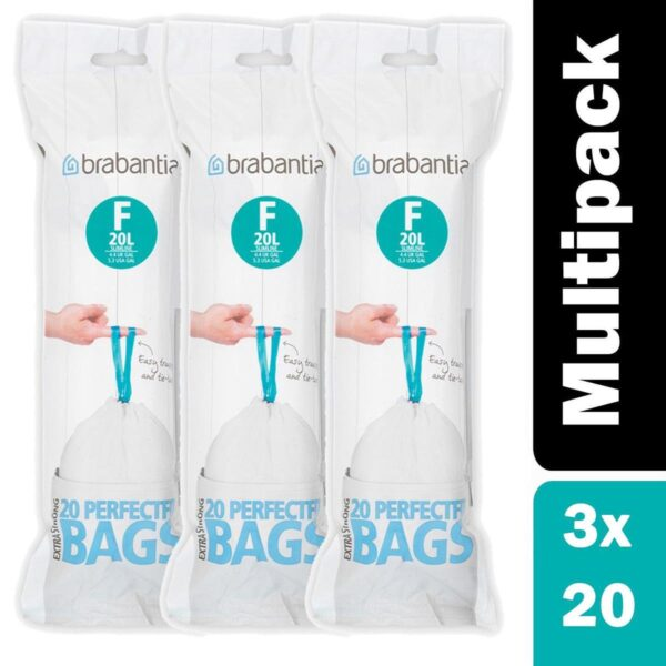 Pack of x 3 Brabantia PerfectFit Bags Code F, 20 litre Slimline, 20 Bags per Roll - White