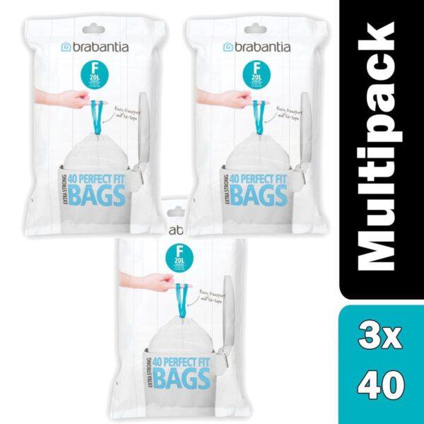 Pack of x 3 Brabantia PerfectFit Bags, Code F, 20L, slimline, 40 Bags per Dispenser Pack, - White