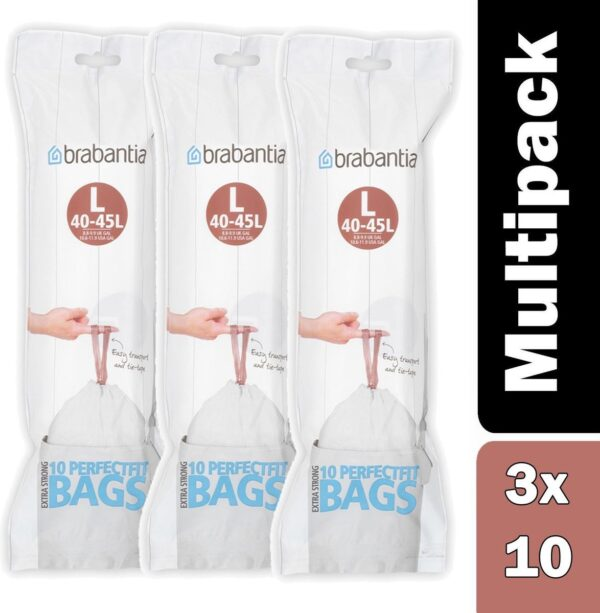 Pack of x 3 Brabantia PerfectFit Bags, Code L, 45 litre, 10 Bags per Roll - White