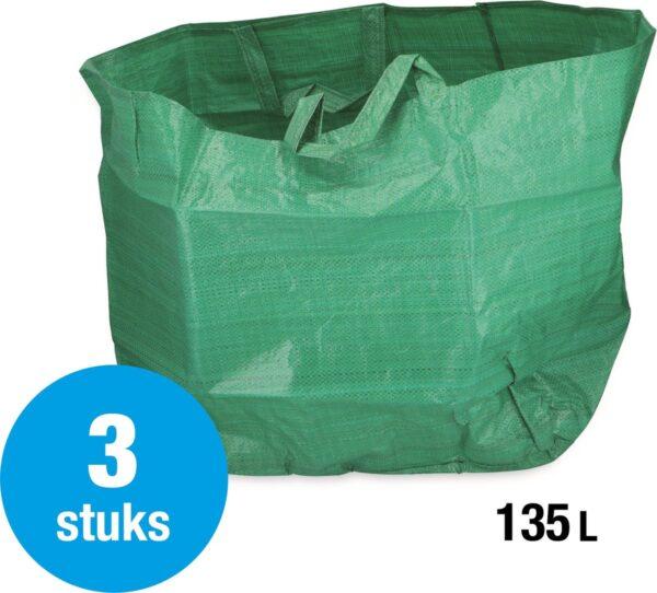 Tuinafvalzak - 3 stuks - 55x55x45 cm - stevige tuinzak - opvouwbaar - tuin afval - groen