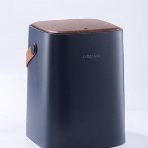 10L prullenbak - Blauw met houtlook klep - afvalbak - GFT afvalbakje - One touch deksel