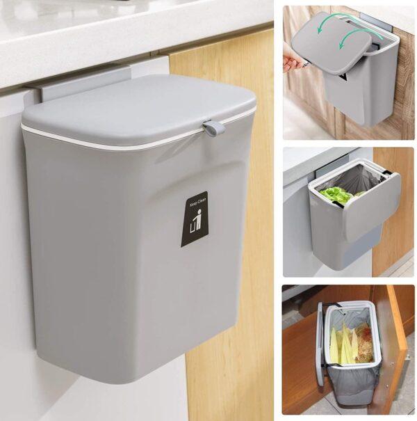 9L prullenbak - hangen of staan - Aanrecht afvalbakje - GFT afvalbakje - Grijs - Goed sluitende deksel - Geen geur en fruitvliegen