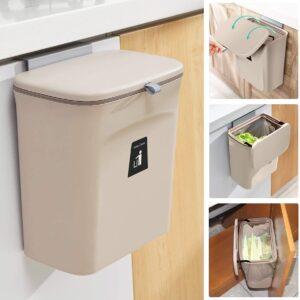 9L prullenbak - hangen of staan - Aanrecht afvalbakje - GFT afvalbakje - Rose/Bruin - Goed sluitende deksel - Geen geur en fruitvliegen