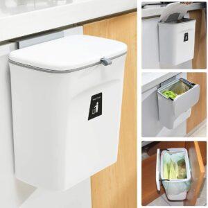 9L prullenbak - hangen of staan - Aanrecht afvalbakje - GFT afvalbakje - Wit - Goed sluitende deksel - Geen geur en fruitvliegen