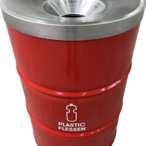BinBin Flame red- industriële olievat prullenbak 200 Liter met vlamwerend deksel- PET flessen inzameling- afvalscheiding