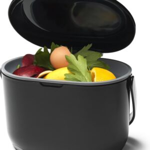 Compost Caddy het GFT afvalbakje zwart/grijs met rol biologisch afbreekbare zakjes