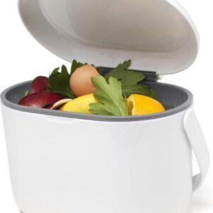 Compost Caddy, het handige GFT afvalbakje voor op het aanrecht - Wit / grijs