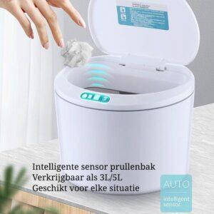 EverydayGoods sensor prullenbak 5 liter - gft afvalbakje - tafelafvalbakje - compostemmer - wc prullenbak - wit - incl batterijen
