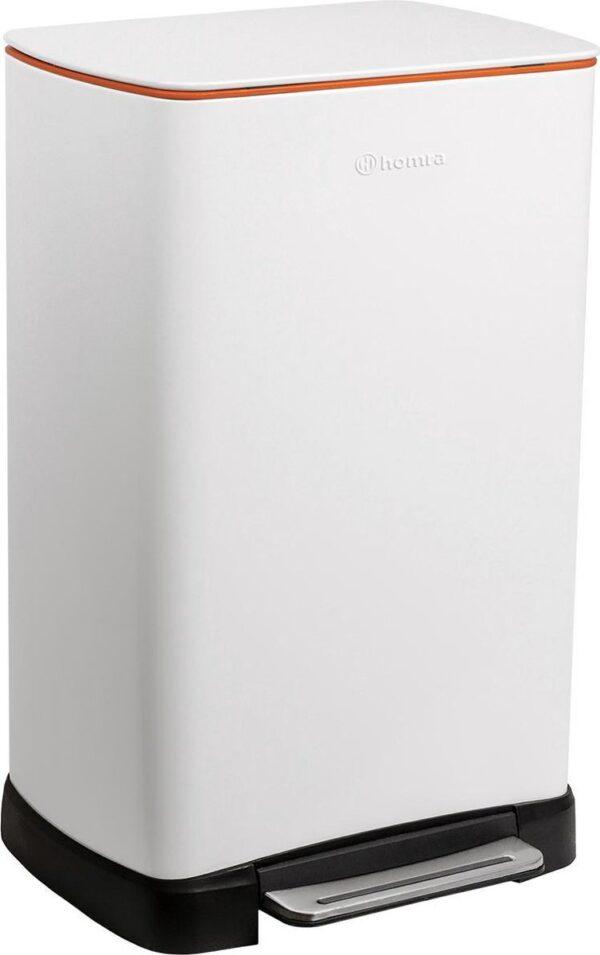 Homra Koniq Prullenbak met pedaal - 50 liter - RVS - Pedaalemmer - Automatisch Lucht Filter - Odor Control - 50L capaciteit - Soft Close Deksel - Afvalemmer - Design - Hygiënisch - Wit