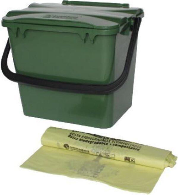 Kliko GFT afvalbakje 7 l + rol bio vuilniszakken 7 liter - groen - 21 cm hoog - met deksel - GFT - afval scheiden
