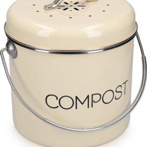 Navaris metalen compostbak 5L - Afvalbakje met 3x filter tegen vieze geuren - Prullenbak met deksel voor gft-afval - Compostemmer keuken - Crème