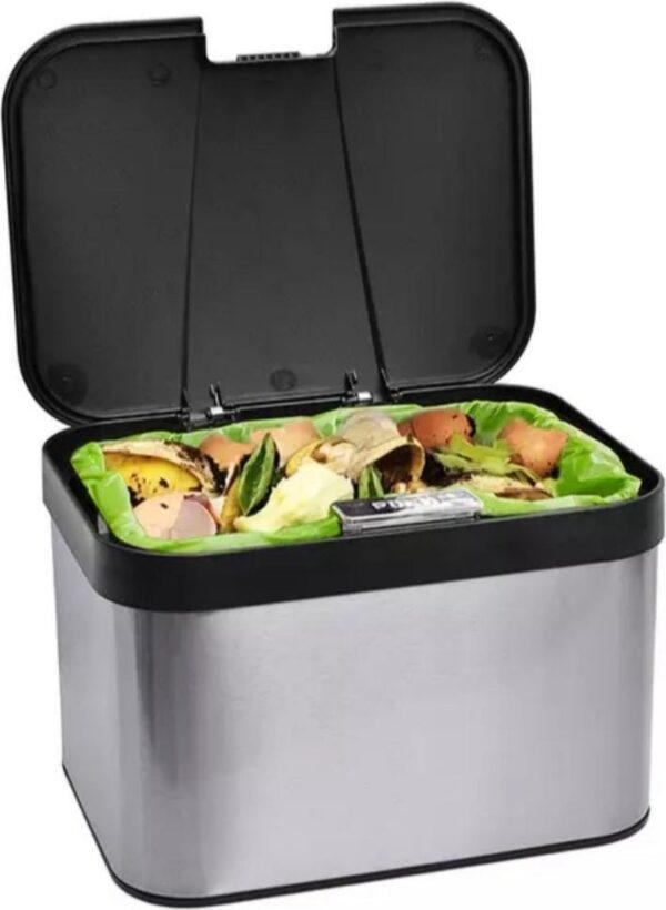 RVS compostbak met binnenemmer - gft afvalbakje