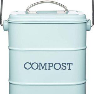 Retro Compostemmer - Compostbakje Keukenaanrecht - GFT Afvalbakje met 2 Filters - 3L / Blauw