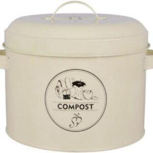 Retro Compostemmer - Compostbakje Keukenaanrecht - GFT Afvalbakje met Anti-geurfilter - 6,3 liter