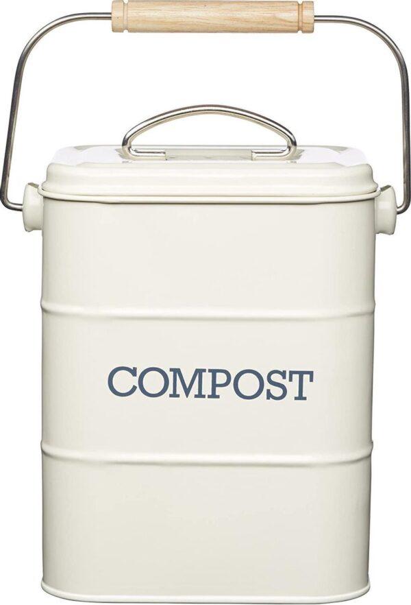 Retro Compostemmer - Compostbakje Keukenaanrecht - Gft Afvalbakje met 2 Filter - 3L / Crème wit