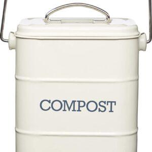 Retro Compostemmer - Compostbakje Keukenaanrecht - Gft Afvalbakje met 2 Filters - 3L / Créme