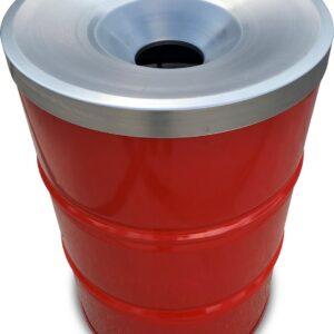 BinBin industriële olievat- vuurton prullenbak 200 Liter met vlamwerend deksel- afvalscheidingsprullenbakken