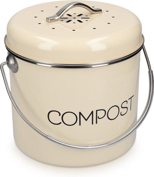 Navaris metalen compostbak 3L - Afvalbakje met 3x filter tegen vieze geuren - Prullenbak met deksel voor gft-afval - Compostemmer keuken - Cr�me