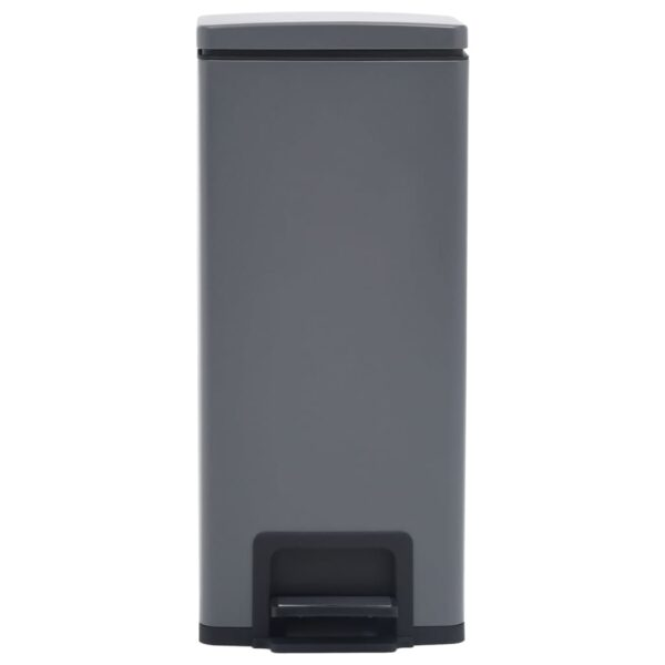 vidaXL Pedaalemmer met anti-vingerafdruk 30 L RVS grijs