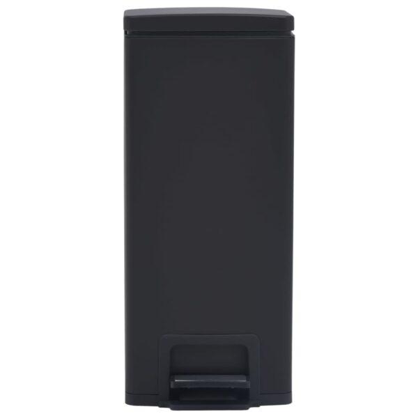 vidaXL Pedaalemmer met anti-vingerafdruk 30 L RVS zwart