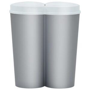 vidaXL Prullenbak dubbel 50 L zilverkleurig en wit