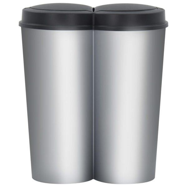 vidaXL Prullenbak dubbel 50 L zilverkleurig en zwart