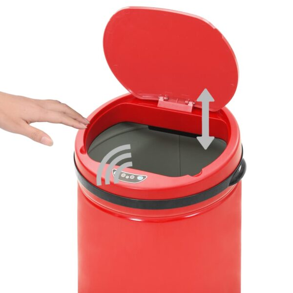 vidaXL Prullenbak met automatische sensor 40 L koolstofstaal rood
