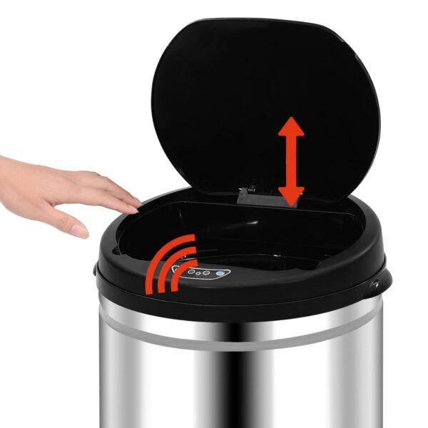 vidaXL Prullenbak met automatische sensor 50 L roestvrij staal