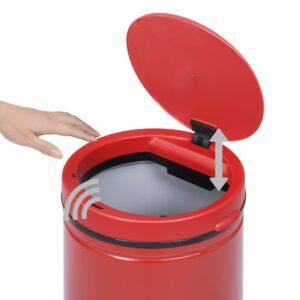 vidaXL Prullenbak met automatische sensor 60 L koolstofstaal rood